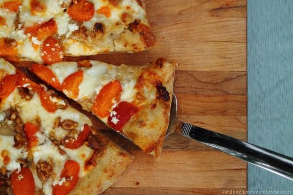 slice of cardamom apricot pizza